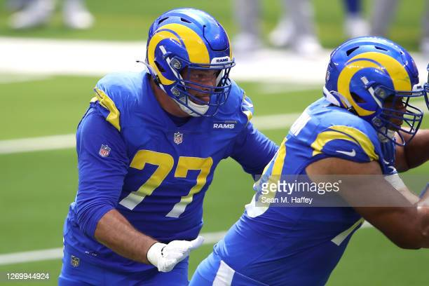 Andrew Whitworth of the Los Angeles Rams runs during a team scrimmage at SoFi Stadium on August 29, 2020 in Inglewood, California.