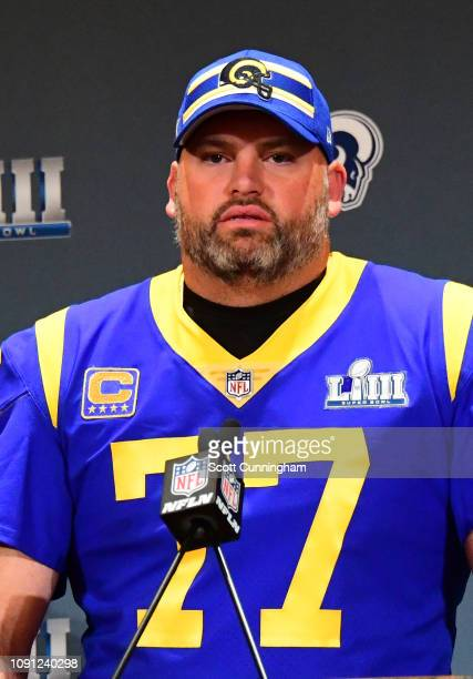 Andrew Whitworth of the Los Angeles Rams speaks during Rams media availability for Super Bowl LIII at the Marriott Atlanta Buckhead on January 30,...