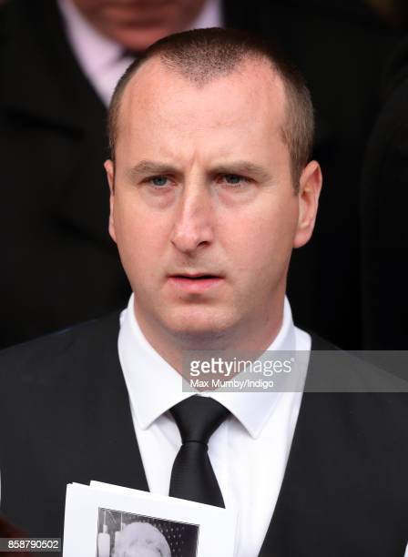 Andrew Whyment attends the funeral of Liz Dawn at Salford Cathedral on October 6 2017 in Salford England Actress Liz Dawn played Vera Duckworth in...