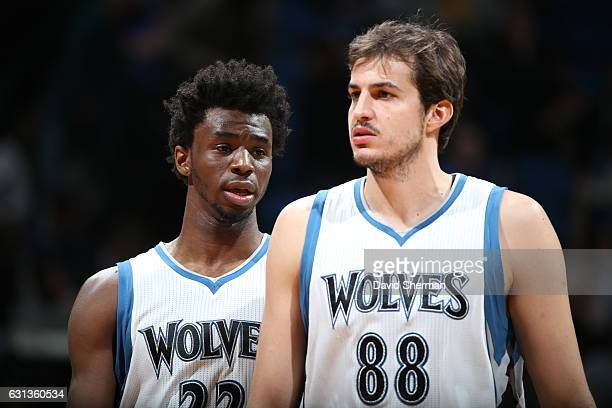 Andrew Wiggins and Nemanja Bjelica of the Minnesota Timberwolves are seen during the game against the Dallas Mavericks on January 9 2017 at Target...