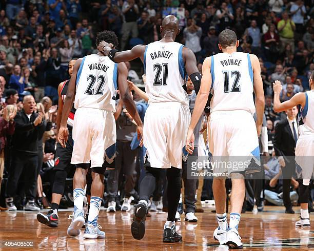 Andrew Wiggins Kevin Garnett and Tayshaun Prince of the Minnesota Timberwolves during the game against the Portland Trail Blazers on November 2 2015...