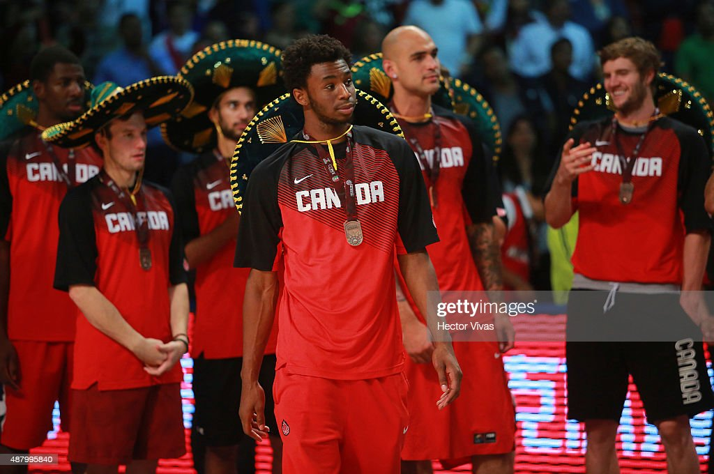 Andrew Wiggins of Canada looks on with bronze medal after the 2015 FIBA Americas Championship for Men at Palacio de los Deportes on September 12, 2015 in Mexico City, Mexico.