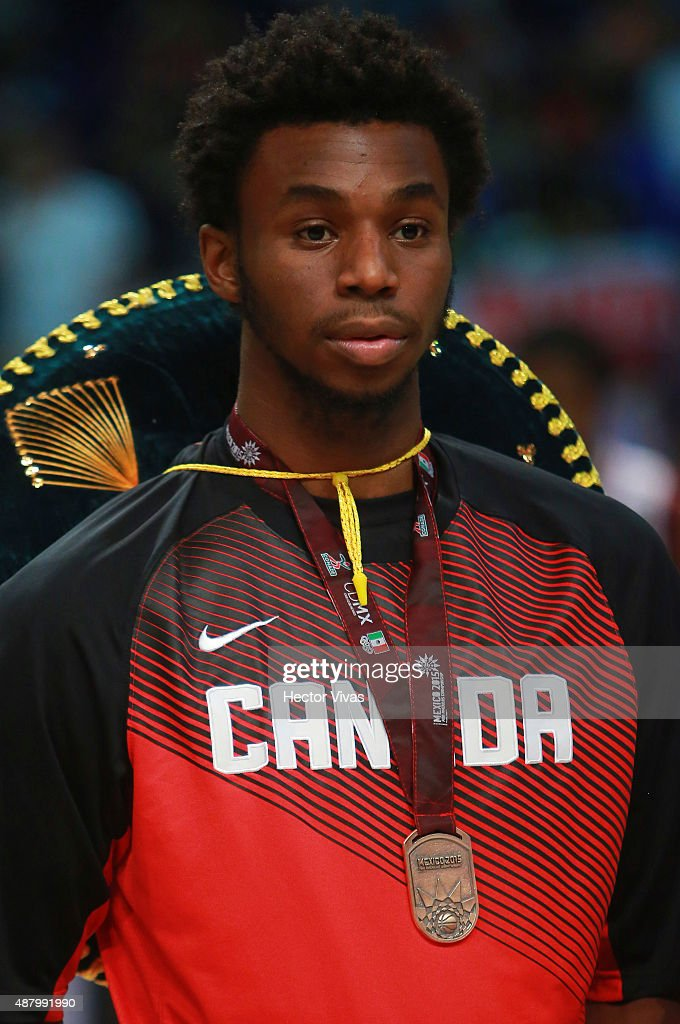 Andrew Wiggins of Canada poses with bronze medal after the 2015 FIBA Americas Championship for Men final match at Palacio de los Deportes on September 12, 2015 in Mexico City, Mexico.