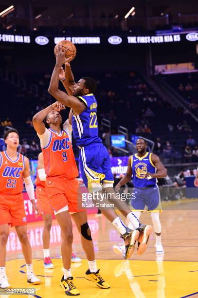 Andrew Wiggins of the Golden State Warriors drives to the basket against the Oklahoma City Thunder on April 8, 2021 at Chase Center in San Francisco,...