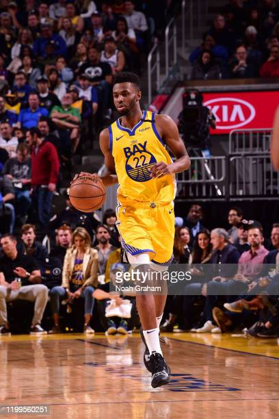 Andrew Wiggins of the Golden State Warriors handles the ball against the Los Angeles Lakers on February 8, 2020 at Chase Center in San Francisco,...