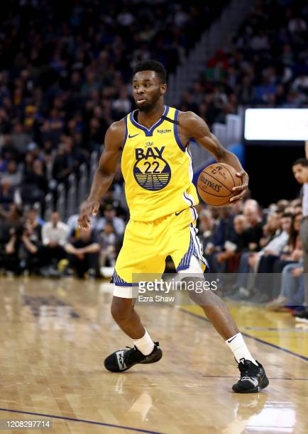 Andrew Wiggins of the Golden State Warriors in action against the New Orleans Pelicans at Chase Center on February 23, 2020 in San Francisco,...