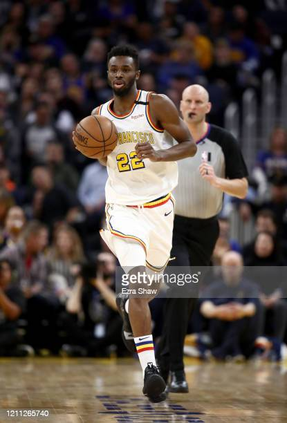 Andrew Wiggins of the Golden State Warriors in action against the Toronto Raptors at Chase Center on March 05, 2020 in San Francisco, California....
