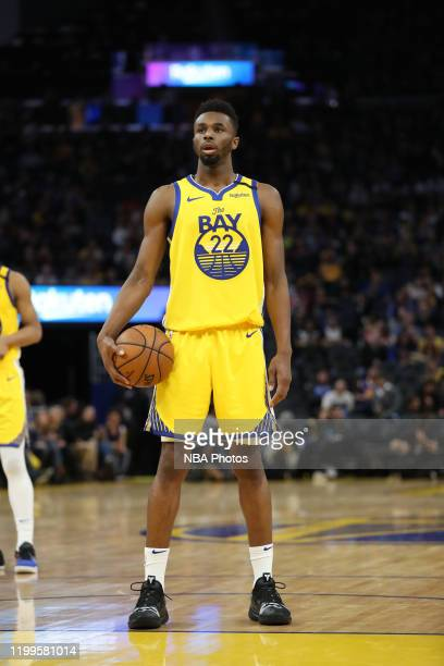 Andrew Wiggins of the Golden State Warriors looks on against the Los Angeles Lakers on February 8, 2020 at Chase Center in San Francisco, California....