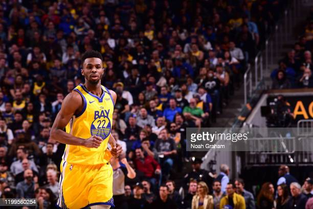 Andrew Wiggins of the Golden State Warriors runs on during a game against the Los Angeles Lakers on February 8 2020 at Chase Center in San Francisco...