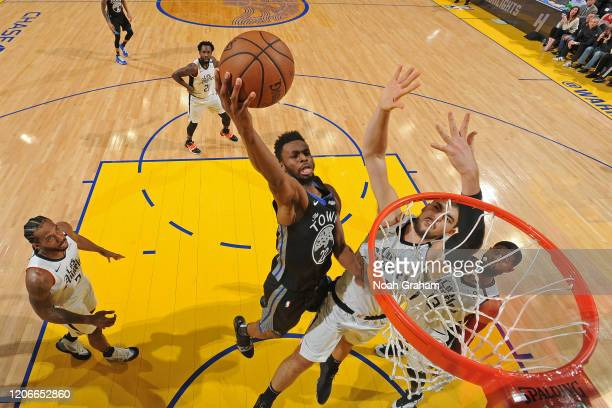 Andrew Wiggins of the Golden State Warriors shoots the ball against the LA Clippers on March 10, 2020 at Chase Center in San Francisco, California....