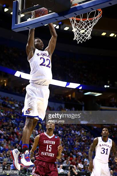 Andrew Wiggins of the Kansas Jayhawks dunks the ball against the Eastern Kentucky Colonels during the second round of the 2014 NCAA Men's Basketball...