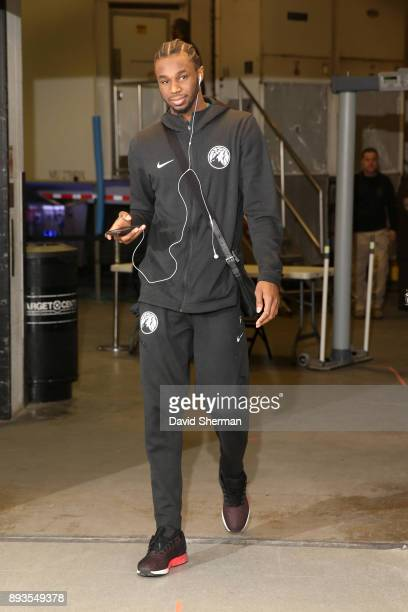 Andrew Wiggins of the Minnesota Timberwolves arrives at the stadium before the game against the Sacramento Kings on December 14 2017 at Target Center...