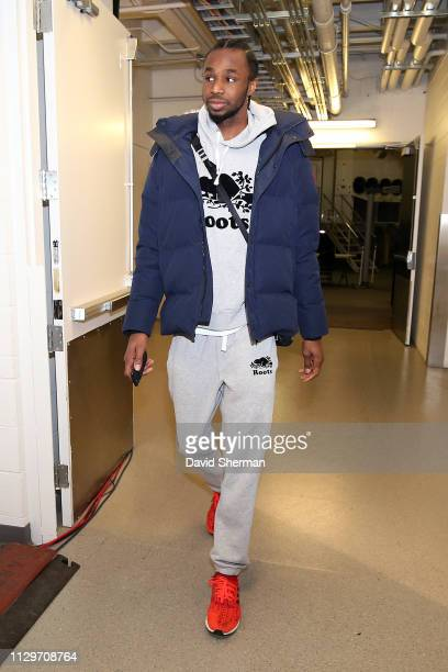 Andrew Wiggins of the Minnesota Timberwolves arrives before the game against the New York Knicks on March 10 2019 at Target Center in Minneapolis...