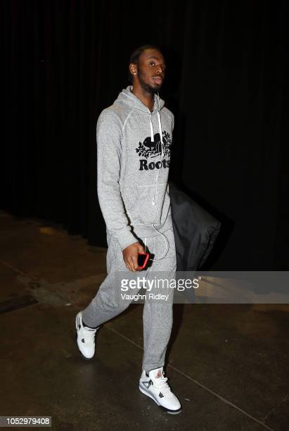 Andrew Wiggins of the Minnesota Timberwolves arrives for an NBA game against the Toronto Raptors at Scotiabank Arena on October 24 2018 in Toronto...