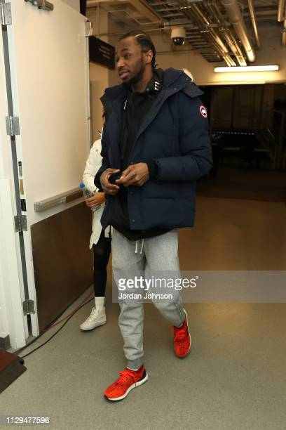 Andrew Wiggins of the Minnesota Timberwolves arrives for the game against the Washington Wizards on March 9 2019 at Target Center in Minneapolis...