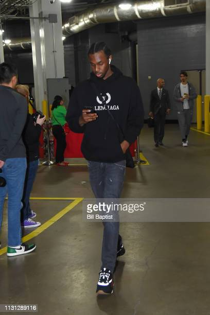 Andrew Wiggins of the Minnesota Timberwolves arrives prior to a game against the Houston Rockets on March 17 2019 at the Toyota Center in Houston...