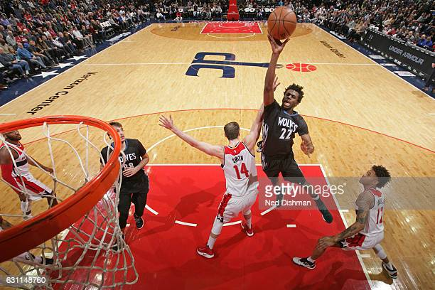 Andrew Wiggins of the Minnesota Timberwolves drives to the basket and shoots the ball against the Washington Wizards on January 6 2017 at Verizon...
