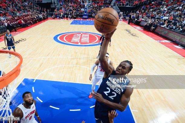 Andrew Wiggins of the Minnesota Timberwolves drives to the basket against the Indiana Pacers on October 25 2017 at Little Caesars Arena in Detroit...