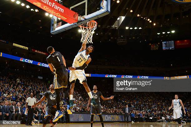 Andrew Wiggins of the Minnesota Timberwolves dunks the ball during a game against the Golden State Warriors on November 26 2016 at ORACLE Arena in...