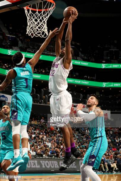 Andrew Wiggins of the Minnesota Timberwolves dunks the ball during the game against the Charlotte Hornets on March 21 2019 at Spectrum Center in...