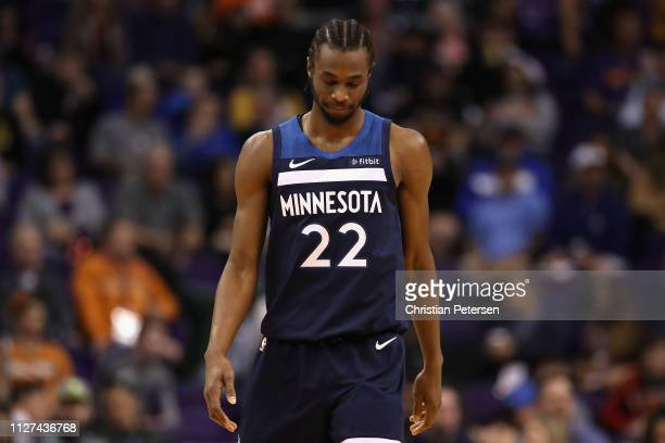Andrew Wiggins of the Minnesota Timberwolves during the second half of the NBA game against the Phoenix Suns at Talking Stick Resort Arena on January...