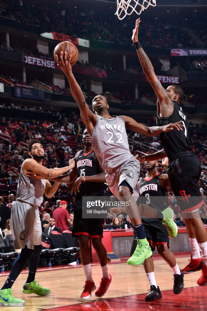 Andrew Wiggins #22 of the Minnesota Timberwolves glides to the basket against the Houston Rockets in Game One of Round One of the 2018 NBA Playoffs on April 15, 2018 at the Toyota Center in Houston, Texas.