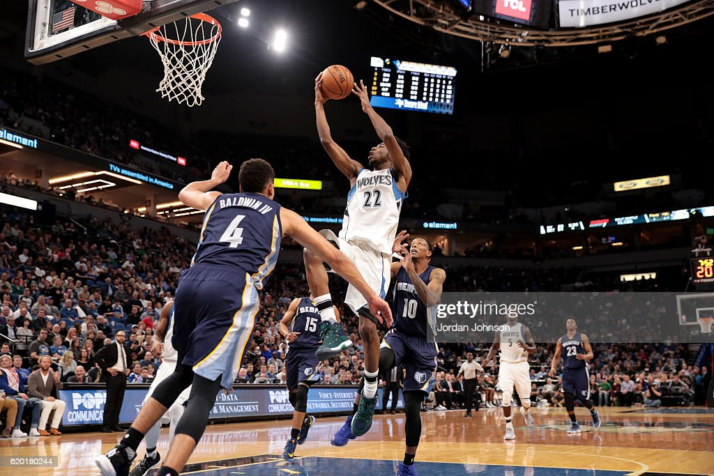 Andrew Wiggins #22 of the Minnesota Timberwolves goes for the lay up during the game against the Memphis Grizzlies on November 1, 2016 at Target Center in Minneapolis, Minnesota.