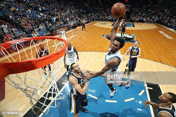 Andrew Wiggins of the Minnesota Timberwolves goes up for a dunk against the Utah Jazz on March 26 2016 at Target Center in Minneapolis Minnesota NOTE...