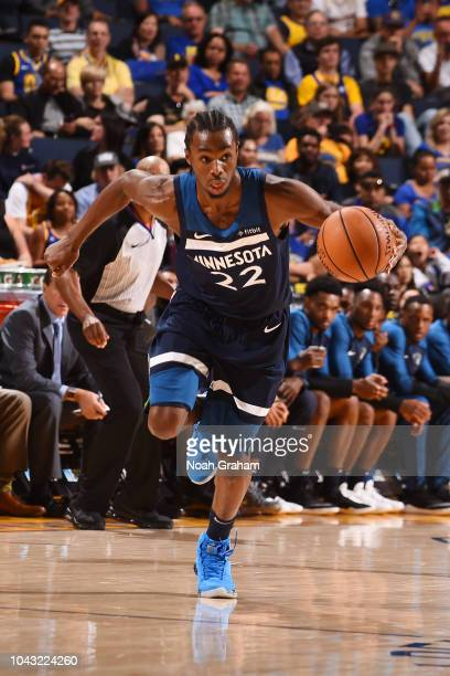 Andrew Wiggins of the Minnesota Timberwolves handles the ball against the the Golden State Warriors during a preseason game on September 29 2018 at...