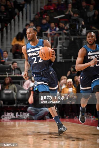 Andrew Wiggins of the Minnesota Timberwolves handles the ball against the Detroit Pistons on March 6 2019 at Little Caesars Arena in Detroit Michigan...