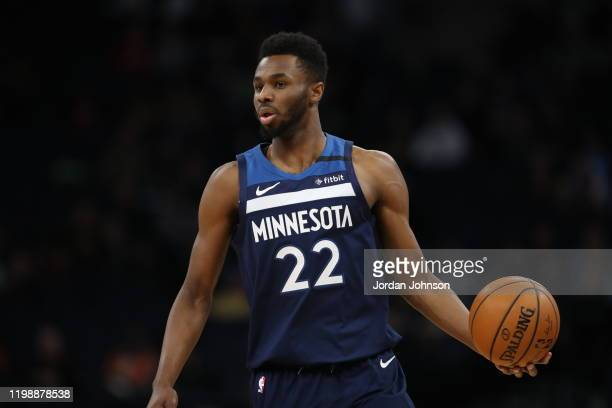 Andrew Wiggins of the Minnesota Timberwolves handles the ball against the Atlanta Hawks on February 5 2020 at Target Center in Minneapolis Minnesota...