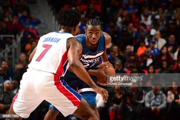 Andrew Wiggins of the Minnesota Timberwolves handles the ball against the Detroit Pistons on October 25 2017 at Little Caesars Arena in Detroit...