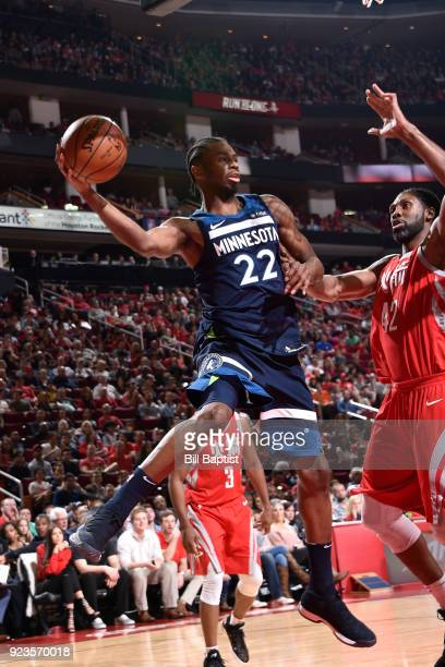 Andrew Wiggins of the Minnesota Timberwolves handles the ball against the Houston Rockets on February 23 2018 at the Toyota Center in Houston Texas...