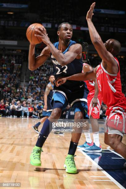 Andrew Wiggins of the Minnesota Timberwolves handles the ball against the Houston Rockets in Game Three of Round One of the 2018 NBA Playoffs on...