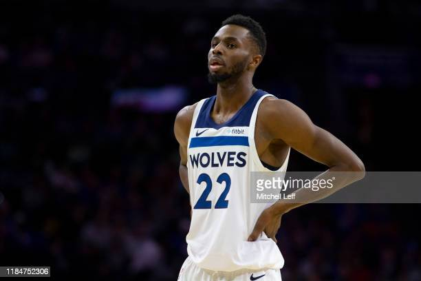 Andrew Wiggins of the Minnesota Timberwolves looks on against the Philadelphia 76ers at the Wells Fargo Center on October 30 2019 in Philadelphia...