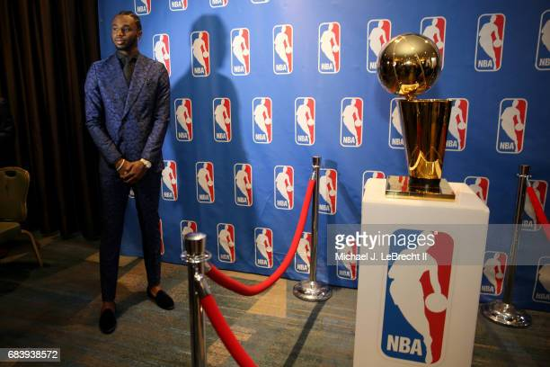 Andrew Wiggins of the Minnesota Timberwolves looks on during the 2017 NBA Draft Lottery at the New York Hilton in New York New York NOTE TO USER User...