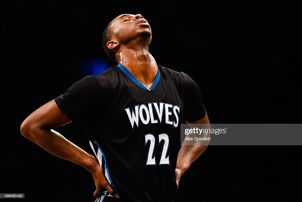 Andrew Wiggins #22 of the Minnesota Timberwolves looks on in the third quarter during a game against the Brooklyn Nets at the Barclays Center on November 5, 2014 in the Brooklyn borough of New York City.
