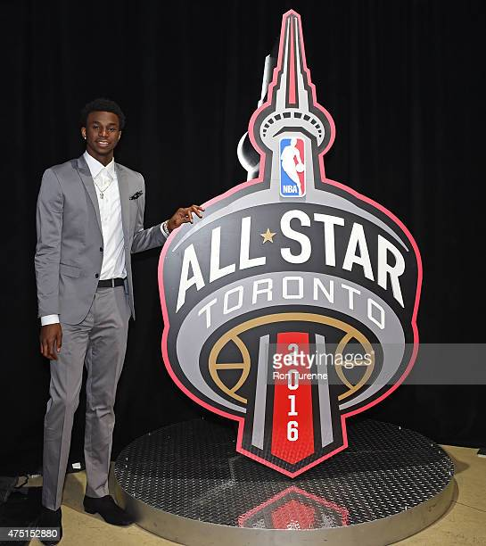Andrew Wiggins of the Minnesota Timberwolves poses for photos at the 2016 Toronto AllStar Weekend Logo Unveiling press conference on April 21 2015 at...