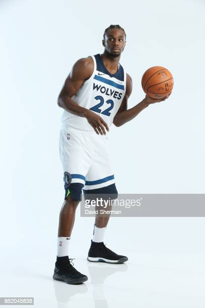 Andrew Wiggins of the Minnesota Timberwolves poses for portraits during the 2017 Media Day on September 22 2017 at the Minnesota Timberwolves and...