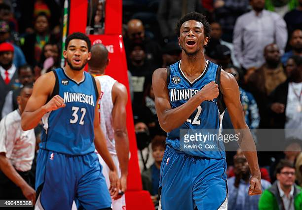 Andrew Wiggins of the Minnesota Timberwolves reacts after drawing a foul on a basket against the Atlanta Hawks at Philips Arena on November 9 2015 in...