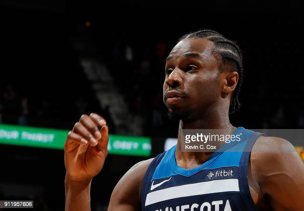 Andrew Wiggins of the Minnesota Timberwolves reacts after their 105100 loss to the Atlanta Hawks at Philips Arena on January 29 2018 in Atlanta...