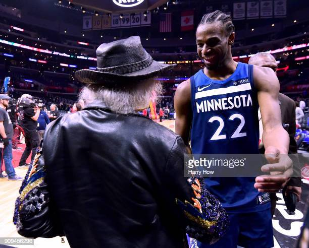 Andrew Wiggins of the Minnesota Timberwolves shakes hands with Jimmy Goldstein after a 126118 win over the LA Clippers at Staples Center on January...