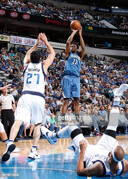 Andrew Wiggins of the Minnesota Timberwolves shoots a jumper against the Dallas Mavericks on February 28 2016 at the American Airlines Center in...