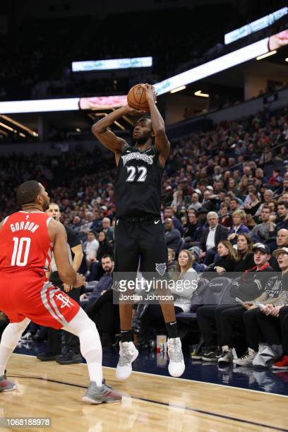 Andrew Wiggins of the Minnesota Timberwolves shoots a threepointer against the Houston Rockets on December 3 2017 at Target Center in Minneapolis...