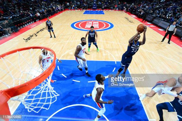 Andrew Wiggins of the Minnesota Timberwolves shoots the ball against the Detroit Pistons on March 6 2019 at Little Caesars Arena in Detroit Michigan...