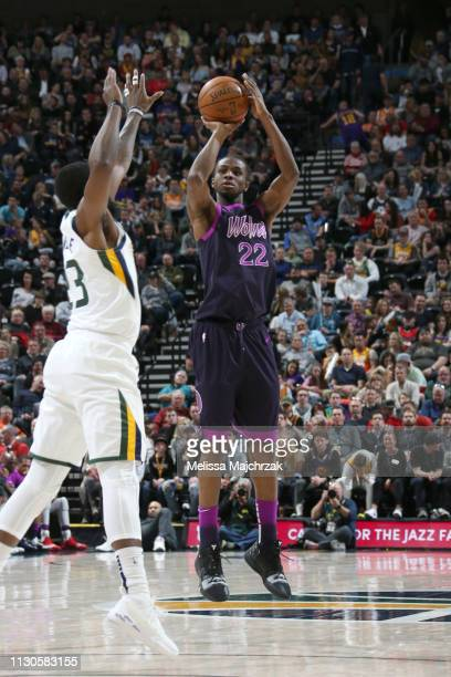Andrew Wiggins of the Minnesota Timberwolves shoots the ball against the Utah Jazz on March 14 2019 at vivintSmartHome Arena in Salt Lake City Utah...