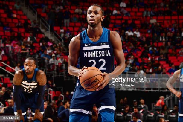 Andrew Wiggins of the Minnesota Timberwolves shoots the ball against the Detroit Pistons on October 25 2017 at Little Caesars Arena in Detroit...