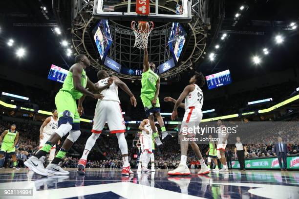 Andrew Wiggins of the Minnesota Timberwolves shoots the ball against the Toronto Raptors on January 20 2018 at Target Center in Minneapolis Minnesota...