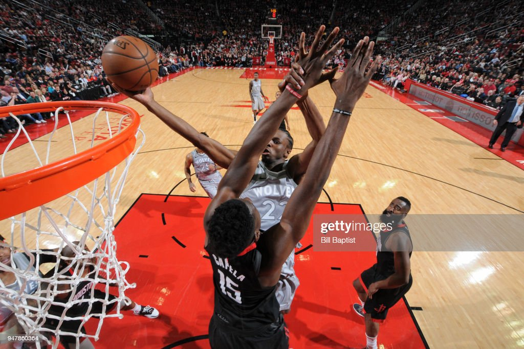 Andrew Wiggins #22 of the Minnesota Timberwolves shoots the ball against the Houston Rockets in Game One of Round One of the 2018 NBA Playoffs on April 15, 2018 at the Toyota Center in Houston, Texas.