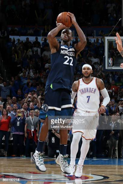 Andrew Wiggins of the Minnesota Timberwolves shoots the winning shot during the game against the Oklahoma City Thunder on October 22 2017 at...